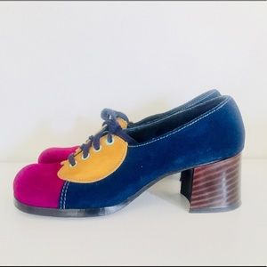 Vintage 60s Color Block Heels Chunky Shoes 8.5